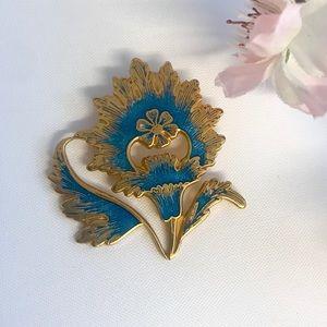 Jewelry - Vintage 1985 MMA Blue Acrylic Gold Tone Brooch